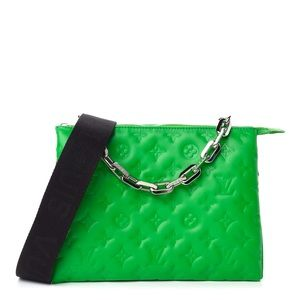 LOUIS VUITTON Lambskin Leather Embossed Monogram Coussin PM LV Motion Green bag